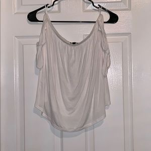 White Off the Shoulder Blouse with Shoulder Ties